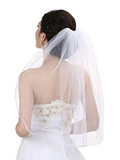 Rhinestone Luxury Tier Crystal Edge Shoulder Length Bridal Veil - White