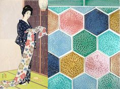 hand made art tile japanese chrysanthemum