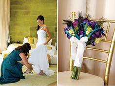 Peacock Theme Las Vegas Golf Course Wedding to Remember | bellethemagazine.com