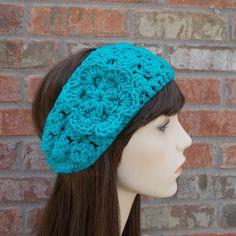 Turquoise Blue Crochet Headband with Flower