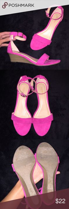 """Old Navy Sueded Demi Wedge Ankle Strap Sandal Cute ankle strap sandal, hot pink, suede, 1 3/4"""" heel. Worn once, excellent condition. Shoes Sandals"""
