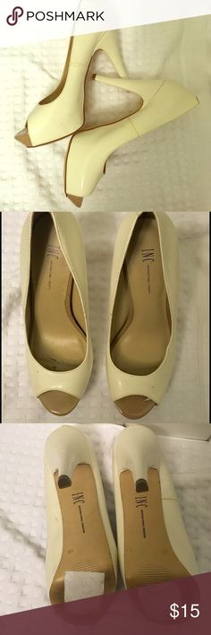 """International concepts platform peeptoe Cream colored International Concepts """"Bombay"""" platform peeptoe. Still in great condition with some minor scuffs. No box INC International Concepts Shoes Platforms"""