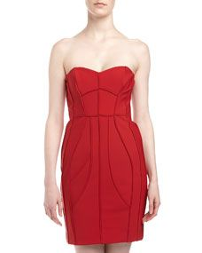 Strapless Seamed Sweetheart Dress, Rose Red 6 $87.50