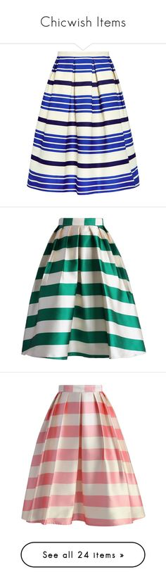 """""""Chicwish Items"""" by divinespiritcreations ❤ liked on Polyvore featuring skirts, bottoms, high waisted skirts, high-waisted skirts, ruffled skirts, white midi skirt, striped skirts, green, green midi skirt and green slip"""