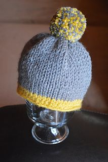 "Made with a ""knook"". I'll try to replicate this simple hat using regular circular knitting needles."