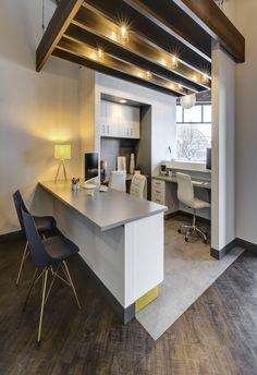 The Dental Studio - Modern Dental Office Design - Apex Design Build Wood Slat Ceiling, Open Ceiling, Wood Slats, Dental Office Design, Office Interior Design, Interior Design Services, Apex Design, Exposed Brick Walls, Treatment Rooms
