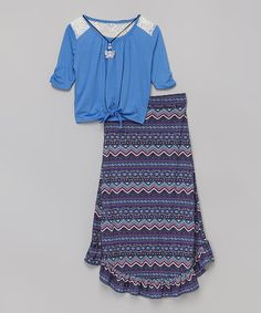 Love this Blue Knot-Front Raglan Top Set by Beautees on #zulily! #zulilyfinds
