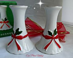 Ceramic Christmas Candlesticks Ribbons Holly by EauPleineVintage