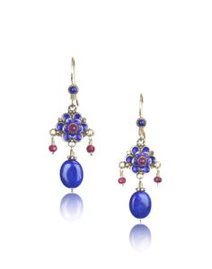 Enameled Flower Earrings with Lapis and Rubies These gorgeous enameled flower earrings are both colorful & elegant! Beautiful vibrant enamel mixed with gem stones. Enamel, rubies & lapis.  Also available in:  Green & periwinkle.