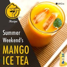 #Recipe Summer Weekend's MANGO ICE TEA mango iced tea - a refreshing summer tea with flavors of mangoes and tea. Ingredients: 2 medium size mangoes - 1.5 cups pulp 3 teaspoons black tea  4 cups water half tbsp lemon juice  sugar as required mint leaves for garnishing