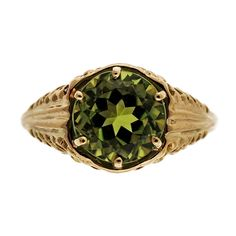 Antique Art Deco 18k Yellow Gold Filigree 3.00ct Peridot Old European Ring