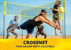 CROSSNET Four Square Volleyball Net & Game Set - Volleyball Set for Backyards - Yard Games for Kids and Adults Game Four Square Volleyball - Includes Poles, Carrying Backpack Volleyball Serving Drills, Volleyball Rules, Volleyball Practice, Volleyball Setter, Volleyball Players, Basketball Teams, Volleyball Positions, Outside Games, Net Games