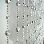 6ft Disco Ball Beaded Curtain in Silver