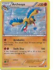 Pokemon Card Plasma Blast Rare Holo Archeops 54/101 HP120 FREE COMBINED S&H