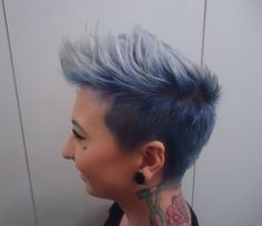 Taelah Bulley hair by Maddy #undercut #fade #denim #blue #smokey #grey #hair #punk #edgy #mohawk #androgynous #ombre #blonde #pixie #rock #stretcher