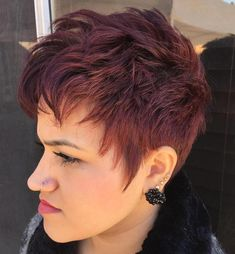 chopped burgundy pixie