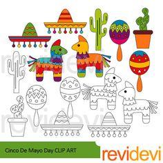 Cinco de mayo día clipart - sombrero, pinata, cactus imágenes prediseñadas - 5 mayo fiesta clip art