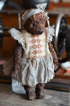 Купить Аннабель - коричневый, Плюшевый мишка, плюш винтажный, плюш, винтажный стиль, винтаж, состаренный