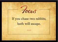 """If you chase two rabbits, both will escape."" #focus #discipline #quote  http://papasteves.com/"