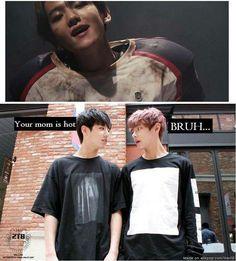 Read Umma Baek from the story ~ KPOP MEMES I ~ by CalypsEko (Khaï) with reads. JungKook : T'as mère est chaude V : BRUH . Bts Memes, Funny Kpop Memes, Vixx, Super Junior, Shinee, Got7, Bambam, Moorim School, Meme Center