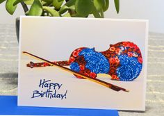 Blank Card - Birthday Card - Violin - Painted Violin - Music Lovers - Happy Birthday - Unique Card - Art Card - For Anyone - Flowers - Blue by CreateThriveGrow on Etsy