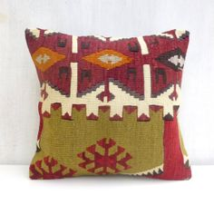 Christmas Sale Kilim Pillow Cover Vintage Toss by PillowTalkOnEtsy, $58.00