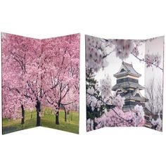 Oriental Furniture 6-Feet Japanese Pagoda and Cherry Blossoms Photo Print Room Divider, 4 Panels