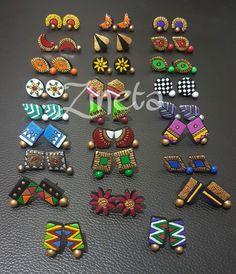 Terracotta Earrings, Wooden Earrings, Fabric Earrings, Diy Earrings, Ceramic Jewelry, Clay Jewelry, Handmade Accessories, Handmade Jewelry, Teracotta Jewellery