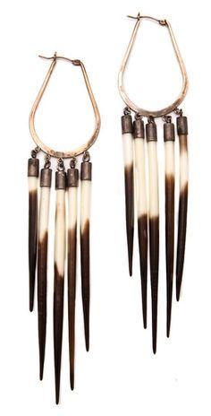 Porcupine quill earrings by Kristen Elspeth