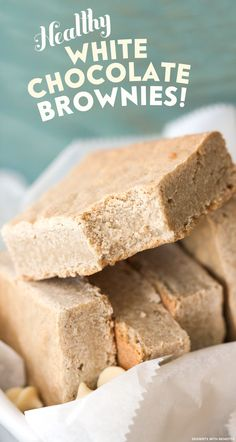 Healthy White Chocolate Brownies (or Blondies)! Sweet, dense and fudgy, yet they're made without flour, sugar and butter. (sugar free, gluten free, dairy free, eggless, vegan)
