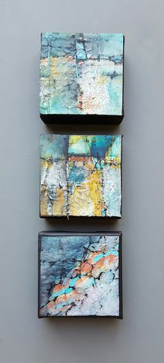 """Contemporary Landscape Artists International: Mixed Media, Contemporary Abstract Art """"SMALL MOUNTAIN CAPES II"""" by Contemporary Artist Gerri Calpin"""