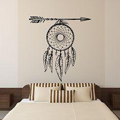 Dream Catcher Wall Decal Arrows Feathers Dreamcatcher Native America Hippie Boho Bohemian Bedroom Dorm Tribal Wall Art Home Decor U016