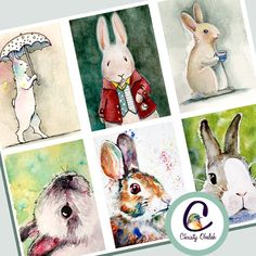 Bunny Rabbit ATC scrapbooking collage sheet by ChristyObalek Artist Trading Cards, Sell On Etsy, Art Fair, Collage Sheet, Animal Paintings, Bunny Rabbit, Atc, Easter Bunny, Painting & Drawing