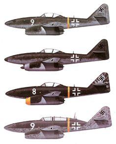 1938 wurde die Messerschmitt A.G. aufgefordert, um die neu entwickelten Turbo-Triebwerke von Junkers und BMW eine Zelle zu konstruieren. Diese stellten sie im folgenden Jahr fertig, und Anfang 1940 wurde die Firma beauftragt, eine kleine Anzahl von Prototypen zu bauen. Aus verschiedenen Gründen erwiesen sich die ersten Düsentriebwerke für das Flugzeug als ungeeignet, und die offizielle Begeisterung ebbte ab, doch im Juli 1942 zeigte die Me 262 mit Jumo ihre wahren Chancen als Jagd.