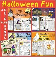OFF Halloween Fun Bundle: 4 Lively Puzzle Sets + Creature Buddy Craft Set - willkommen Halloween Word Search, Halloween Puzzles, Halloween Words, Halloween Treats, Halloween Fun, Worksheets, Printable Puzzles For Kids, Autumn Crafts, Autumn Activities
