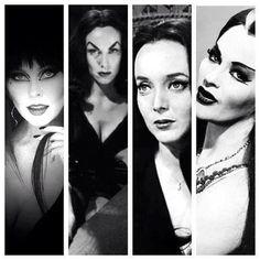 Queens of Horror: Elvira, Vampira, Morticia Addams and Lily Munster. Love these ladies Lily Munster, Morticia Addams, Dark Beauty, Gothic Beauty, Rockabilly, Divas, Carolyn Jones, Cassandra Peterson, Maila