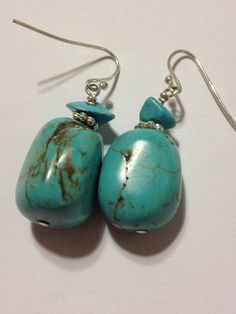 Turquoise Sterling Earrings 70s Silver Nuggets 925 Blue Estate Vintage Genuine Stones Tribal Southwestern Boho Country Jewelry OOAK Chips on Etsy, $28.00