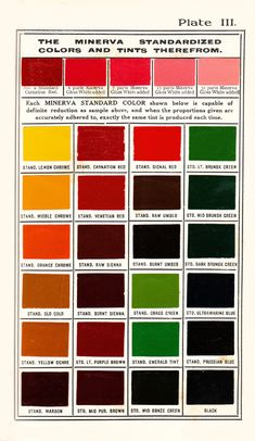 "Minerva ""Standardized Colors"". 1907. Part of the drive to standardise colours and colour names of the time. See this essay on colour nomenclature - http://patrickbaty.co.uk/?p=11388"