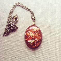 Pink Gold and Brown Resin Pendant Gold Foil by lowelowejewelry, $24.00