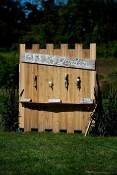 Love this diy beer garden idea from my friend's wedding.