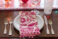 Add pom poms to your linen napkins