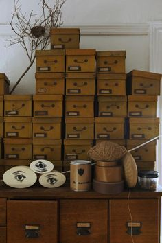 vintage boxes and a vintage card catalog become a beautiful storage option (oh and look at that nest!)