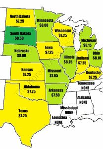 2015 Minimum wage by states in the mid-west. South Dakota is the highest at $8.50.