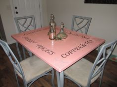 the same table after a little TLC  :)  I think it turned out fantastic! - kitchen table redo table chair paint