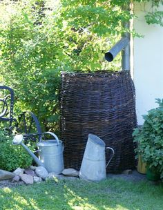 Garden Cottage, Garden Art, Garden Plants, Garden Design, Twig Crafts, Water Collection, Rain Barrel, Rainwater Harvesting, Backyard Projects