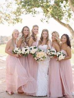 Romantic bridesmaid dresses idea; photo: Abby Jiu