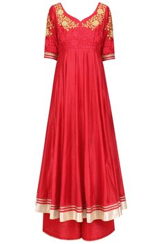 Red floral embroidered anarkali and palazzo pants set available only at Pernia's Pop Up Shop.