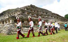 Zona arqueológica totonaca de Yohualichan en Puebla. Puebla México