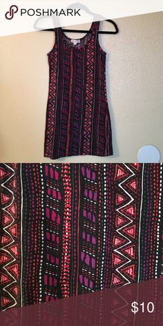 Forever 21 Tribal Print Bodycon Dress XXI purple, black, red, and orange tribal print bodycon dress. Soft material. Size S. Forever 21 Dresses Mini