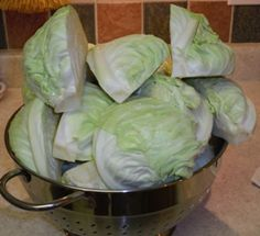 Quartered and cleaned cabbage ready to blanch and freeze for later use